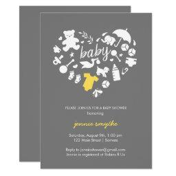 Baby Shower Invitation-Baby Icon Heart-Yellow/Grey
