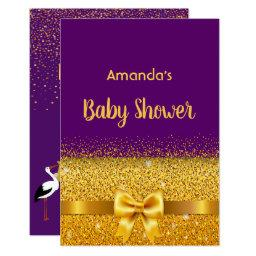 Baby Shower Invitation Invitations Violet With Golden Bow