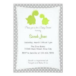 Baby Shower  Cute Dinosaur Grey Green