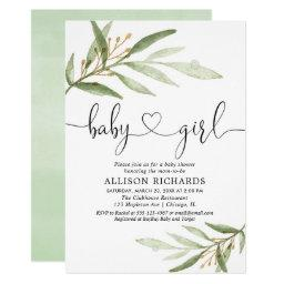Baby Shower Invitation Girl Simple Modern Greenery