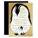 Baby Shower Invitation Gold Baby & Mommy Penguins
