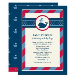Baby Shower  | Navy & Red Nautical Whale
