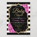 Baby Shower Invitation Pink Black White Stripes