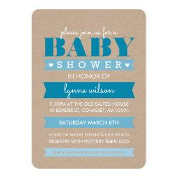 INVITE modern rustic kraft white BLUE