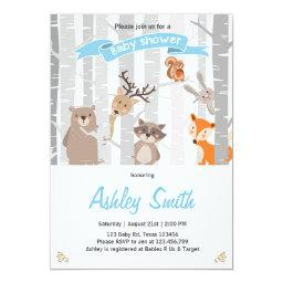 invite Woodland Animals Forest Boy