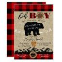 Baby Shower Little Bear Flannel Lumberjack Theme Invitation
