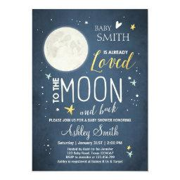 Baby Shower Love You To The Moon Boy Girl Mint Invitation