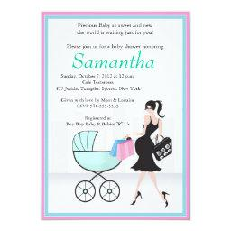 Baby Shower Mom to be with Carriage