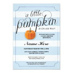 Baby Shower Pumpkin Blue Boy Stripe Harvest Invite