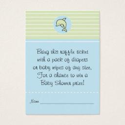 Baby Shower Raffle Ticket/Green/Blue Dolphin