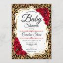 Baby Shower - Red Gold Leopard Print Invitation