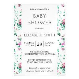 Baby Shower - Roses, Moth Orchids, Lilies - Green Magnetic Invitation