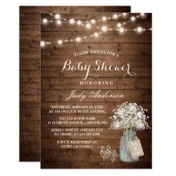 Baby Shower Rustic Baby's Breath Floral Mason Jar Invitation