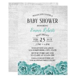 Baby Shower Rustic Succulent Floral Barn Wood