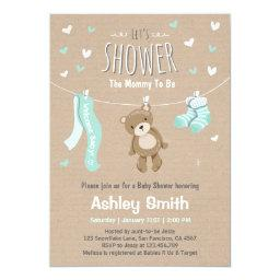 Bear baby shower invitations babyshowerinvitations4u baby shower teddy bear invitation baby mint green filmwisefo