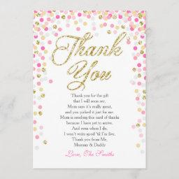 Baby Shower Thank You  Confetti Gold pink girl