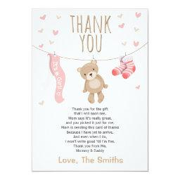 Baby Shower Thank You  Teddy Bear pink girl