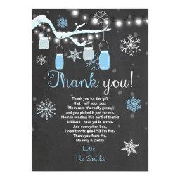 Baby Shower Thank you Winter Baby boy blue