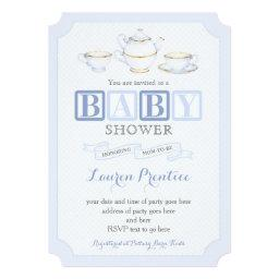 Baby Shower Vintage Tea Party Invite Invitations For Boy