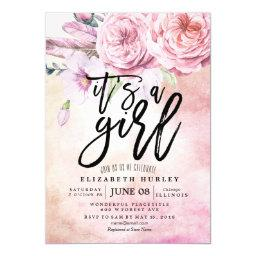 Baby Shower Watercolor Bohemian Flowers & Feathers