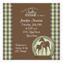 Baby Shower With Horses In Green Plaid