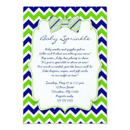 Baby Sprinkle Navy Green Bow Tie Shower Invite