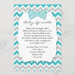 Baby Sprinkle Turquoise Gray Bow Tie Baby Shower Invitation