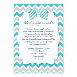 Baby Sprinkle Turquoise Gray Bow Tie Baby Shower Invitations