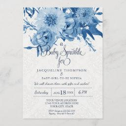 Baby Sprinkle Watercolor Navy Blue Chintz Floral Invitation
