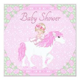 Baby, Unicorn and Roses Pink Baby Shower