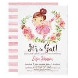 Ballerina Baby Shower Girl Pink Invitation