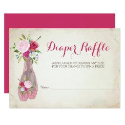 Ballerina Girl Baby Shower Diaper Raffle Invitation
