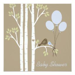 Balloons, Birds & Birch Trees Invitations