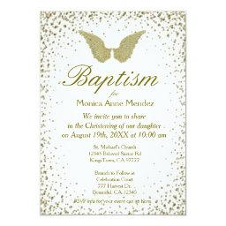 Baptism | Angel Wings & Gold Confetti