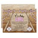 Baseball Bats Rustic Girl Baby Shower Invitation