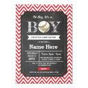 Baseball Red Boy Baby Shower Chevron Invite