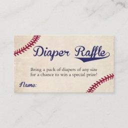 Baseball Themed Diaper Raffle Ticket  Vintage