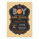 Basketball Baby Shower Invitation Orange Chevron