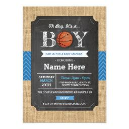 Basketball Blue Boy Baby Shower Sports Invite