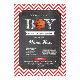 BasketBall Boy Baby Shower Red Chalk Sports Invite