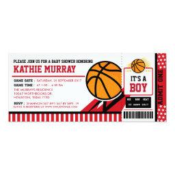 Basketball Ticket Pass Baby Shower Invitation