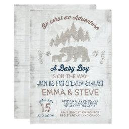 Bear Baby Shower Invitations Boy Adventure Shower