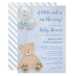 Bear Cub Boy Baby Shower Invitation