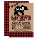 Bear Lumberjack Flannel Baby Shower Invitation