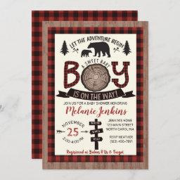 Bear Lumberjack Flannel Boy Baby Shower Invitation
