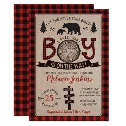 Bear Lumberjack Flannel Boy Baby Shower Invitations