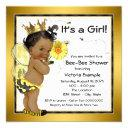 Bee African American Girl Baby Shower Invitation