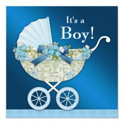 Beige Navy Blue Baby Carriage Boy Shower