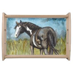 Black and White Paint Horse Watercolor Art Serving Tray