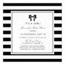 Black And White Stripes With Bow Baby Shower